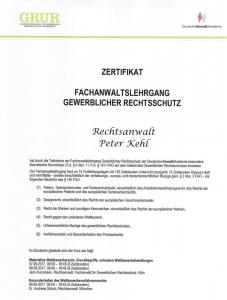Zertifikat Fachanwaltslehrgang gewerblicher Rechtsschutz